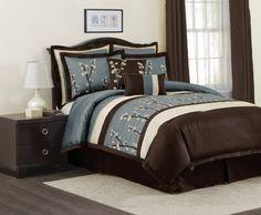 Lush Decor Cocoa Flower 8-Piece Comforter Set, King, Blue