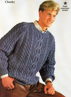 mens chunky aran sweater knitting pattern PDF bulky mans cable jumper crew neck 34-44 inch chunky bulky 12ply Instant download by Hobohooks on Etsy