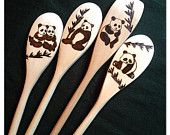 Custom Wood Burned Spoons, Pandas, set of 4