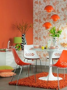 Orange Dining Room Ideas Lovely Modern Dining Room Decorating Ideas orange Paint Colors and Orange Dining Room, Bright Dining Rooms, Orange Rooms, Dining Room Colors, Bright Rooms, Orange Walls, Dining Room Design, Dining Room Furniture, Orange Chairs