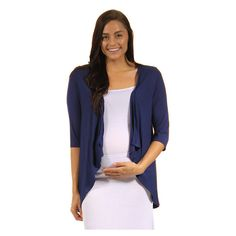 Women's 24/7 Comfort Apparel Women's Maternity Open ShrugCF303M-NAVY-L ($32) ❤ liked on Polyvore featuring maternity, blue and tops & t-shirts