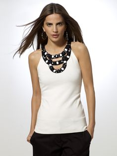 cut-out beaded sweater