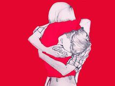 II. conhecer por dentro. O abraço. Grafite colorido em Photoshop. por Thais Curvelo