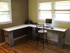 Office desk, using cinder blocks - need to incorporate the file cabinet and  maybe paint