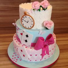 Cutest Cake - 'Alice In Wonderland' Birthday Party Ideas - Photos Alice In Wonderland Tea Party Birthday, Alice In Wonderland Cakes, Alice Tea Party, Alice In Wonderland Party Ideas, Mad Hatter Party, Mad Hatter Cake, Cute Cakes, Party Cakes, Cake Decorating