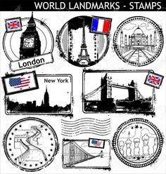 9746701-world-landmarks-stamps-Stock-Vector-stamps-travel-stamp.jpg (1235×1300)