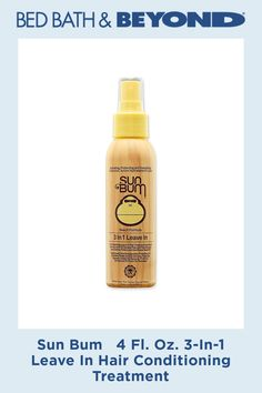 Sun Bum 4 Fl. Oz. 3-In-1 Leave In Hair Conditioning Treatment #NormalHairLoss Argan Oil For Hair Loss, Biotin For Hair Loss, Hair Loss Shampoo, Biotin Hair, Permanent Facial Hair Removal, Back Hair Removal, Hair Conditioning Treatment, Best Hair Loss Treatment, Essential Oils For Hair