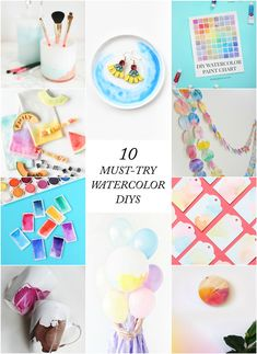 10 must-try watercolor diys Diy Craft Projects, Craft Tutorials, Diy Crafts For Kids, Crafts To Sell, Easy Crafts, Art For Kids, Projects To Try, Craft Wedding, Craft Videos
