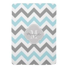 Baby Blue and Gray Chevron with Monogram Swaddle Blankets