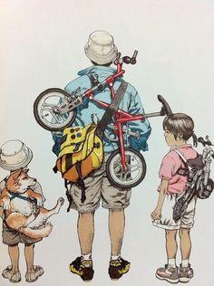 Bike Illustration, Manga Illustration, Character Illustration, Inu Yasha, Katsuhiro Otomo, Bicycle Art, Cowboy Bebop, Cycling Art, Blue Exorcist