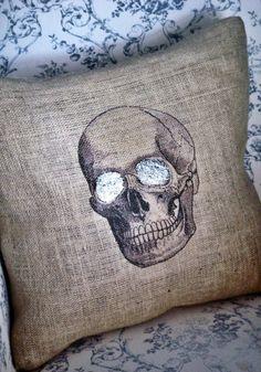 Skull Burlap Pillow Cover Halloween pillow. $35.00, via Etsy.