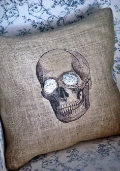 Skull Burlap Pillow Cover Halloween pillow by JolieMarche on Etsy