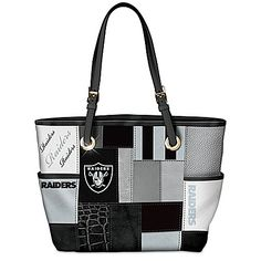 New Orleans Saints tote bag - NFL-licensed custom-designed tote with team colors and logos. Faux leather patches, double handles, adjustable buckles and exterior/interior pockets. Raiders Team, Raiders Stuff, Raiders Baby, Raiders Football, Oakland Raiders, Nfl Football, Gifts For Football Fans, Football Stuff, Jacksonville Jaguars