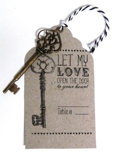 5pc Vintage Style Escort Cards With Skeleton Keys Weddings Receptions