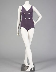 Rudi  Gernreich Swimsuit - American 1950's. Wool, shell (abalone) buttons.