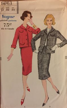 """RARE VTG 9661 Vogue (1960) misses' suit with pencil skirt & jacket.  Size 14, Bust 32"""".  Complete, unused, FF. Excellent condition. by ThePatternParlor on Etsy"""