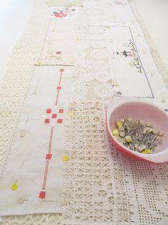 Table runner made from vintage linen and lace