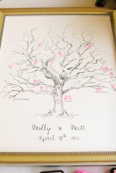 Fignerprint Tree Guest Book maybe not fingerprints but cute