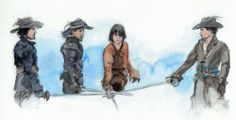 The Musketeers - Great painted watercolour fan art of the scene from the first episode.