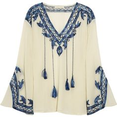 Love Sam Embroidered cotton-blend blouse (825 SEK) ❤ liked on Polyvore featuring tops, blouses, shirts, blusas, peasant shirt, summer blouses, beige blouse, fitted shirt and long sleeve peasant blouse