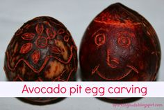 Avocado pit egg carving. A fun recycled project!