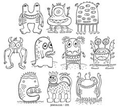 TRANSFERBTO COOKIES! PDF Printable Crazy Monsters Coloring Book by jelene on Etsy - värityskuvat