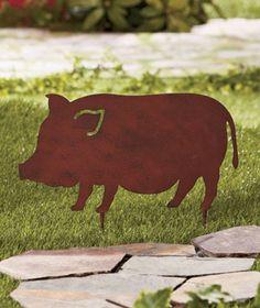 Gartenstab Gartenstecker niedliches Schwein Willkommen Rosenstab Garten Stab