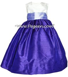 Flower girl dresses in royal purple and lilac