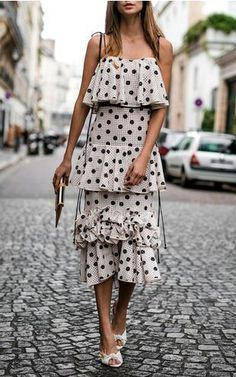 Spring outfit ideas #fashion #ootd - a black and white polka dot dress
