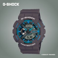 9d2f482970ef Showcasing the Cool Blue of g-Shock GA-110TS series featuring Neon ascents.