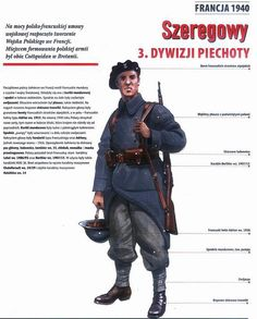 Polish soldier fighting for France in 1940 Ww2 Uniforms, Central And Eastern Europe, Armed Forces, World War Two, Troops, Wwii, Retro, Air Force, Battle