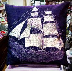 Beautiful Purple ship and feather cushion Feather, Cushions, Ship, Throw Pillows, Purple, Beautiful, Quill, Toss Pillows, Toss Pillows