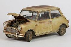 Tamiya 1:24 scale model Mini Cooper by John Tolcher. #automotive #rust