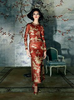 Raise the Red Lantern - Cinema has also strongly influenced Western impressions. The cheongsam dress became a red-hot fad in the mid–20th century, when films like The World of Suzie Wong introduced moviegoers to a fantasy interpretation of Hong Kong. This gold-embroidered evening dress is from Chanel Haute Couture's autumn 1996 collection.