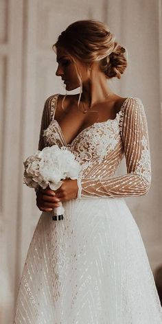 24 Gorgeous Spring Wedding Dresses ❤️ spring wedding dresses a line sweetheart neckline with long sleeves milla nova #weddingforward #wedding #bride