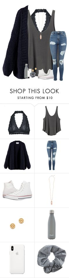 """""""happy new year's!!"""" by kendallthackston ❤ liked on Polyvore featuring Free People, RVCA, I Love Mr. Mittens, Topshop, Converse, Kendra Scott, Tory Burch and S'well"""