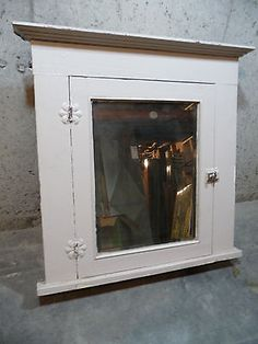 Antique-Medicine-Cabinet-Circa-1905-Pine-with-Beveled-Mirror