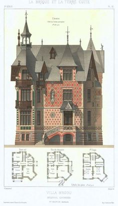 Details of Victorian Architecture. (POST - Villa Brodu at Beuzeval (Calvados departement); Victorian Architecture, Classical Architecture, Architecture Plan, Architecture Details, Drawing Architecture, School Architecture, Inspire Me Home Decor, Victorian House Plans, Victorian Homes