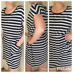 EUC Black and White Stripe Dress Sz S This dress is SO cute and comfortable on! It is a size small and features an elastic waist and pockets. Paired with a belt and worn with sandals or wedges makes this dress perfect for summer! Dresses Mini