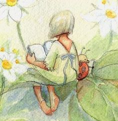 FAIRY READING, in Greens © BECKY KELLY (USA, Artist). Flowers, Ladybug
