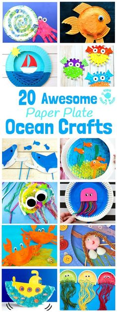 PAPER PLATE OCEAN CRAFTS - 20 awesome sea themed Summer crafts for kids. From swimming jellyfish to chomping sharks and nipping crabs you'll have lots of fun with these beach crafts.