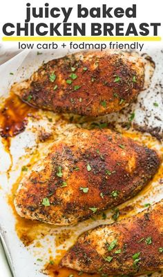Juicy, oven baked chicken breast simply seasoned with a basic spice blend. Prepped and baked in no time at all! Easy Baked Chicken Thighs, Oven Baked Chicken Thighs, Juicy Baked Chicken, Oven Roasted Chicken, Baked Chicken Breast, Chicken Breasts, Keto Chicken, Grilled Chicken, Walnut Chicken Recipe