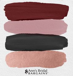 The Perfect Wedding Color Palette: Maroon, Mauve, Black and Rose Gold.The Perfect Wedding Color Palette: Maroon, Mauve, Black and Rose Gold. One of the boldest trends we've been seeing this year is the dark an# Black Color Mauve, Rose Gold Color Palette, Gold Color Palettes, Colour Pallete, Colour Schemes, Gold Palette, Color Combinations, Maroon Wedding Colors, Mauve Wedding