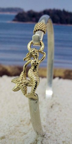 Mermaid in 14K Gold on Sterling Silver Hook Bracelet with Gold Nautical Rope--also available in all Sterling Silver