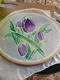 Tulips- painted on silk