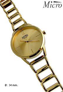 Reloj de señora con mecanismo de cuarzo de la marca Micro. Analógico. Acabado en dorado.