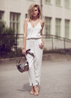 chic white jumpsuit with heels