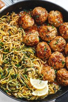 Garlic Butter Meatballs with Lemon Zucchini Noodles - This easy and nourishing skillet meal is absolutely fabulous in every way imaginable! Garlic Butter Meatballs with Lemon Zucchini Noodles - This easy and nourishing skillet Healthy Dinner Recipes, Appetizer Recipes, Yummy Appetizers, Sandwich Appetizers, Cheese Appetizers, Appetizer Ideas, Healthy Chicken Meals, Health Food Recipes, Tasty Healthy Meals