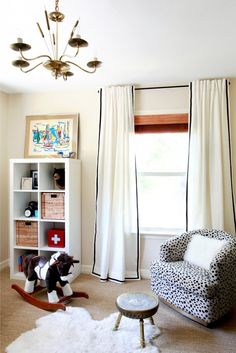 Jax room drapes with added trim-Ikea Ritva curtains. Several ways to hang & embellish them. These are our bedroom curtains. How to dress them up now? Ikea Curtains, White Curtains, Nursery Curtains, Plain Curtains, Hang Curtains, Cute Blankets, Diy Décoration, Easy Diy, Nursery Inspiration