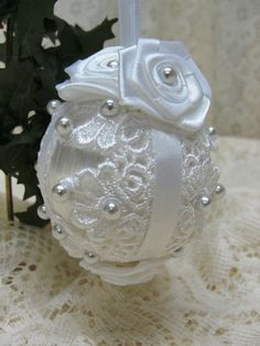 Wedding white handmade satin and lace Christmas ornament.